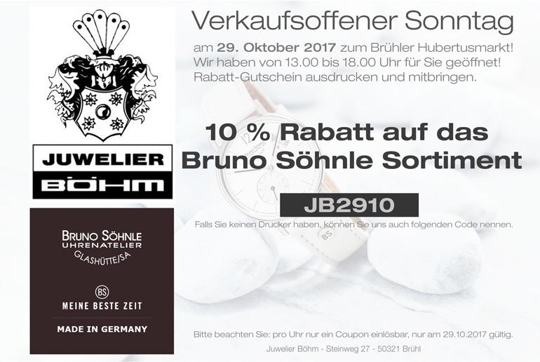 10 % Rabatt auf Bruno Söhnle am 29.10.2017