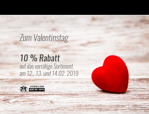 Valentinstag 2019: 10 % Rabatt vom 12.-14.02